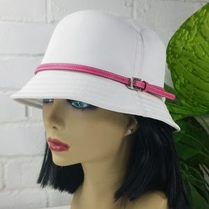 Coach White Bucket Hat Hot Pink Band Small